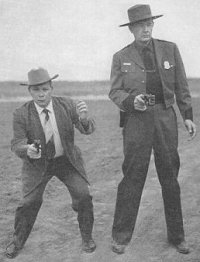 """Jelly"" Bryce of FBI fame and Bill Jordan demonstrate their point shooting techniques."