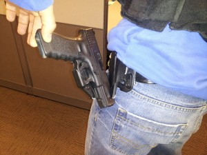 Pulled from a post on a forum, this photo illustrates what happens when someone applies even moderate effort to a Serpa. They're sub-par holsters, folks...