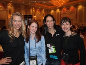 women in the gun industry, from left, Natalie of Girls Guide 2 Guns, Shelley Rae of GunUp, Gabby of ArmedCandy and Gun Nuts, Rebecca of Rebecca Guns
