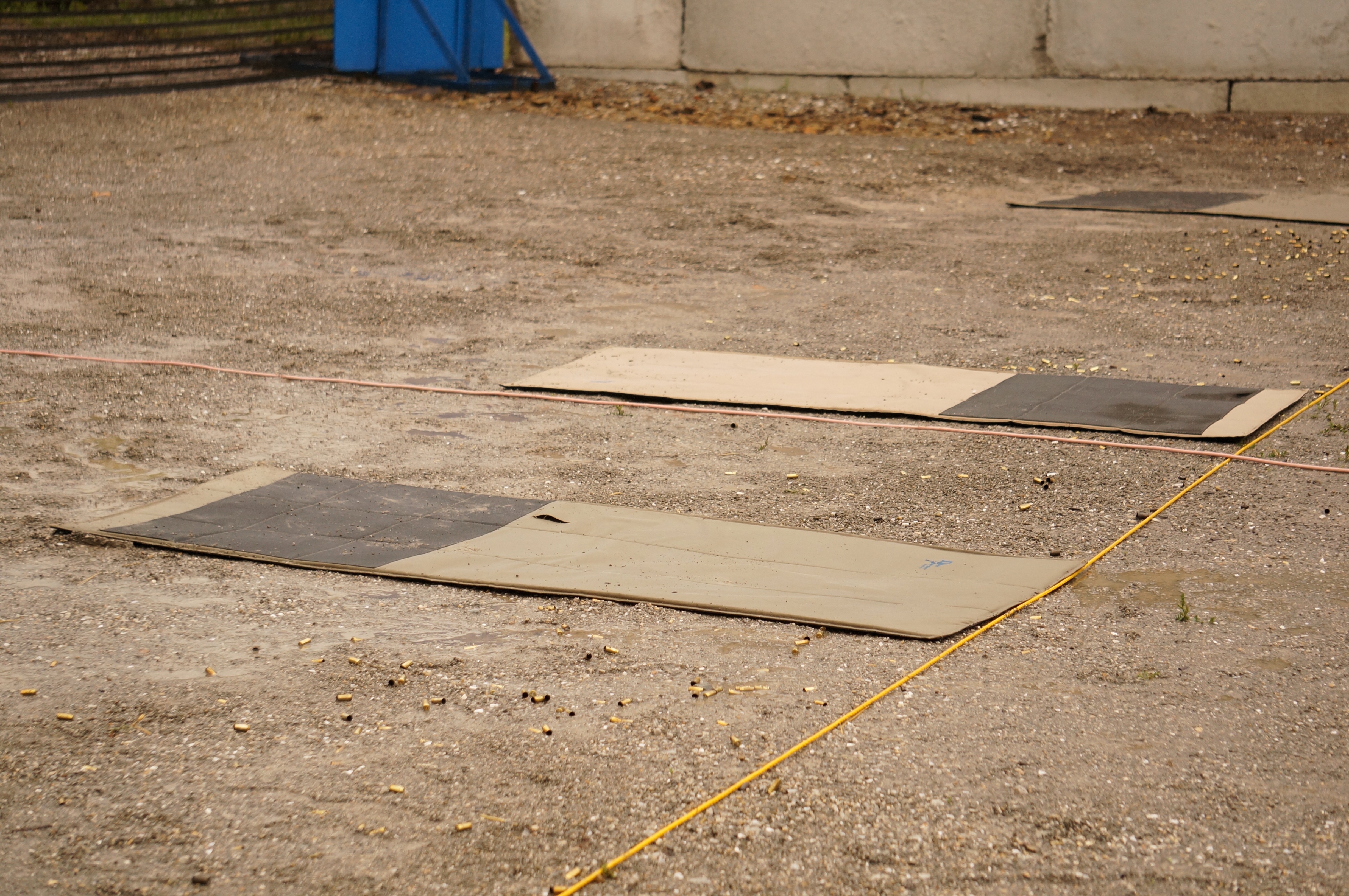 Shooting mats in puddles at the Practical.