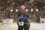 Julie Golob prepares to shoot the Plates at the 2014 Bianchi Cup.