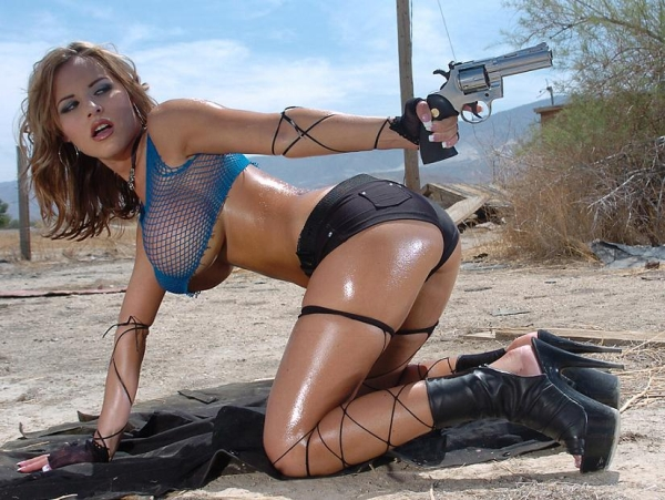 porn girl with toy gun